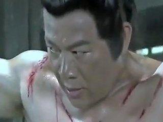Shirtless Muscular Chinese Man Being Whipped